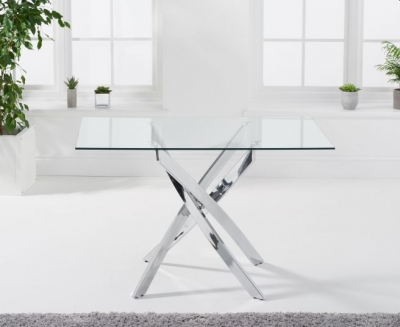 Mark Harris Daytona Glass and Chrome Dining Table