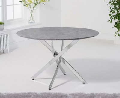 Mark Harris Clara Grey Marble and Chrome Round Dining Table