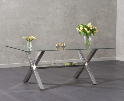 Mark Harris Ricardo Dining Table - Glass and Chrome