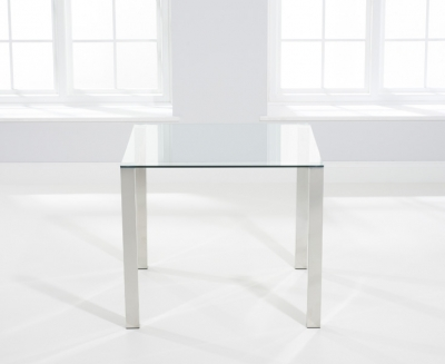 Mark Harris Sara Square Dining Table - Glass and Chrome