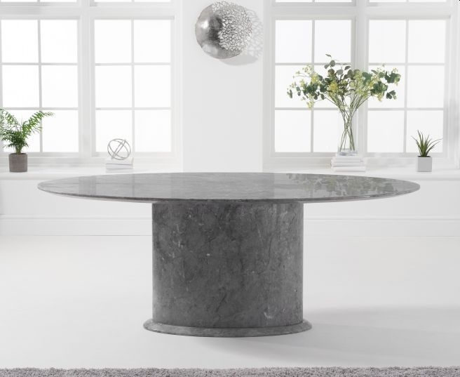 Mark Harris Cooper Grey Marble Oval Dining Table