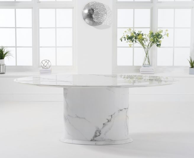 Mark Harris Cooper White Marble Oval Dining Table