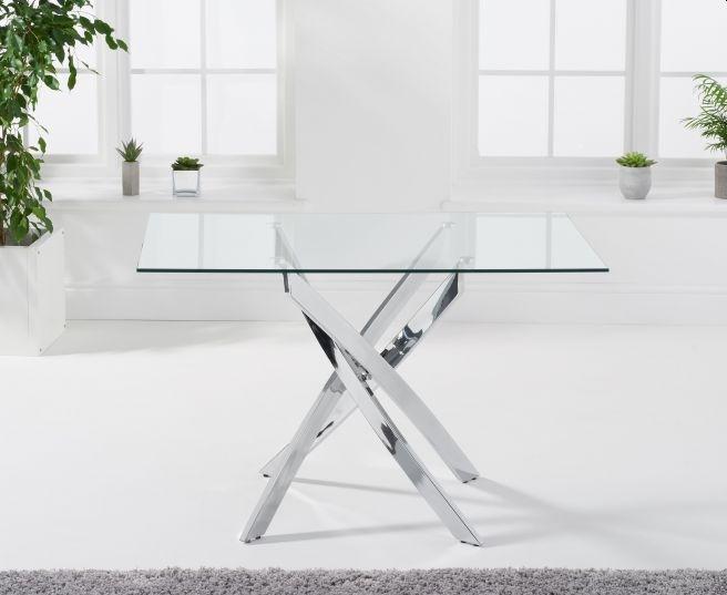 Mark Harris Daytona Glass and Chrome Dining Table