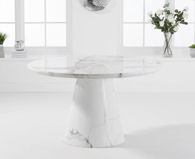 Mark Harris Ramiro White Marble Round Dining Table