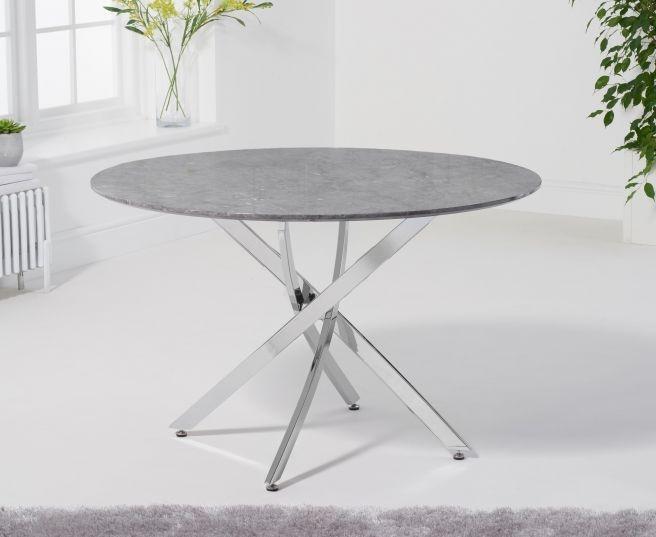 Mark Harris Clara Grey Marble and Chrome Round Dining Table