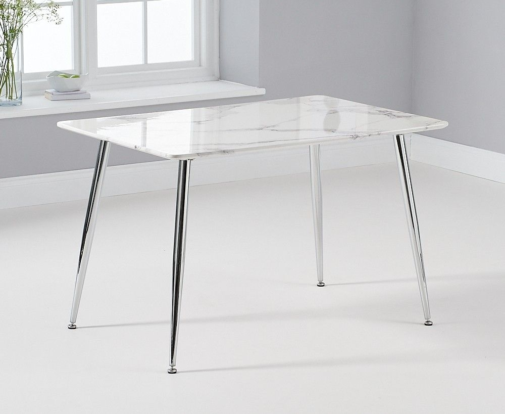 Mark Harris Carrera White and Grey Marble Top 120cm Dining Table