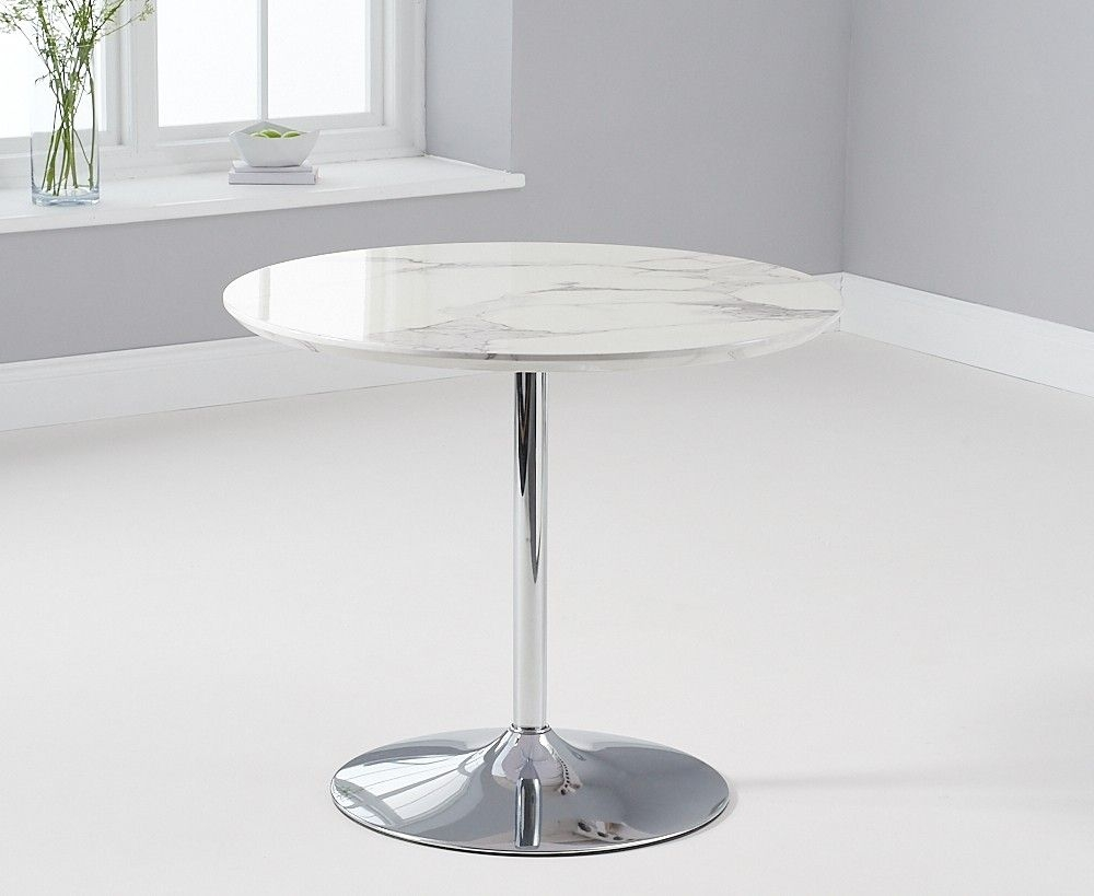 Mark Harris Deborah Round White High Gloss Marble Top 90cm Dining Table