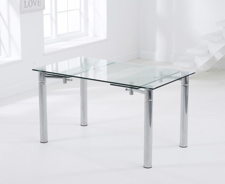 Mark Harris Grenada Extending Dining Table - Glass and Chrome