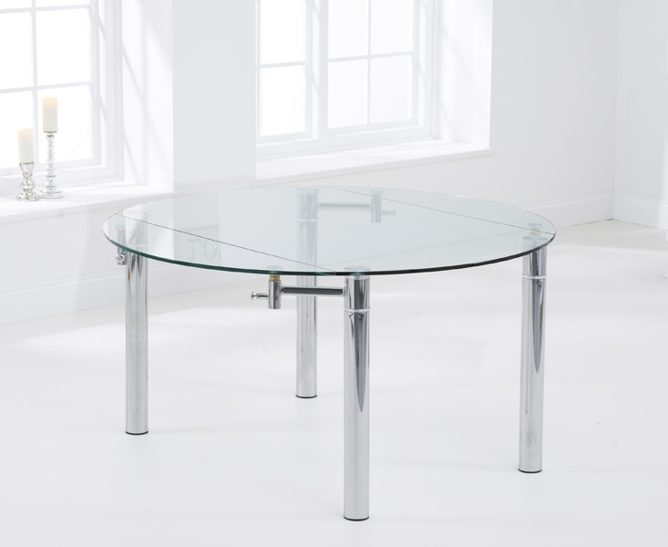 Mark Harris Millennium Round Extending Dining Table - Glass and Chrome