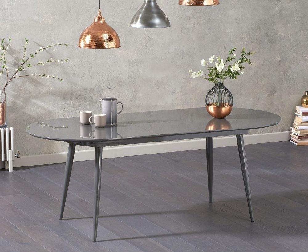 Mark Harris Opel Grey Gloss Extending Dining Table