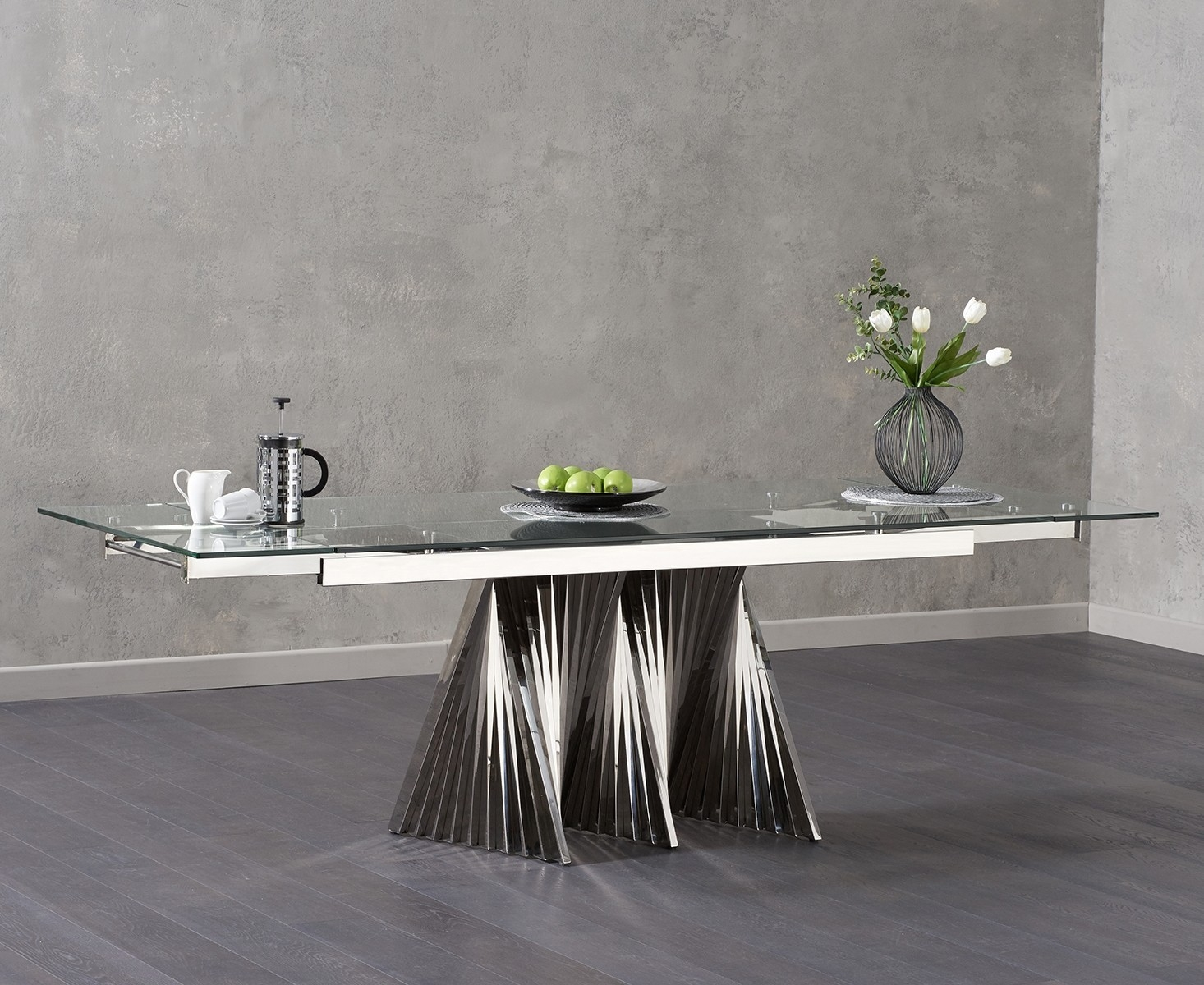 Mark Harris Remington Glass Dining Table - Extending 180cm