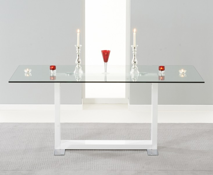 Mark Harris Santa Maria High Gloss and Glass Dining Table - 180cm