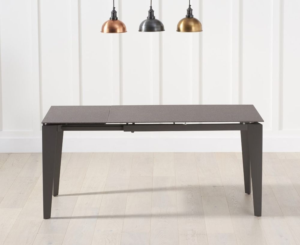 Mark Harris Val Disere Brown Stone and Glass Extending Dining Table