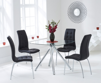 Mark Harris Elba Glass Square Dining Table and 2 California Chairs - Chrome and Black