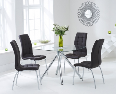 Mark Harris Elba Glass Square Dining Table and 2 California Chairs - Chrome and Brown