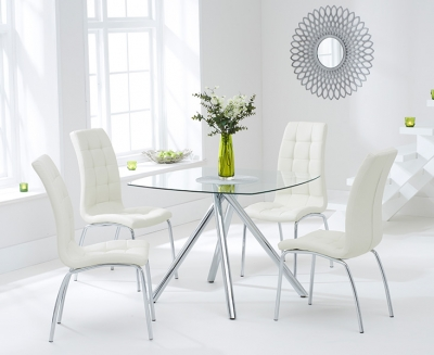 Mark Harris Elba Glass Square Dining Table and 2 California Chairs - Chrome and Cream