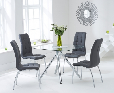 Mark Harris Elba Glass Square Dining Table and 2 California Chairs - Chrome and Grey