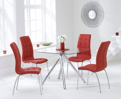 Mark Harris Elba Glass Square Dining Table and 2 California Chairs - Chrome and Red