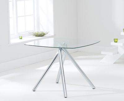 Mark Harris Elba Square Dining Table - Glass and Chrome