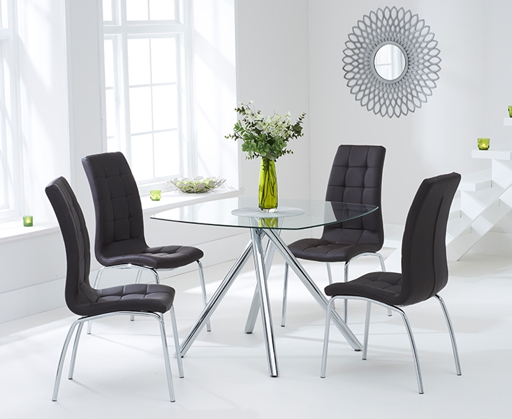 Mark Harris Elba 100cm Glass Dining Table with 4 California Brown Chairs