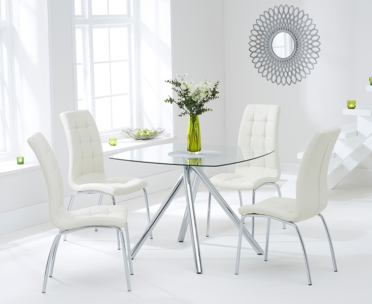 Mark Harris Elba 100cm Glass Dining Set with 4 California Cream Dining Chairs