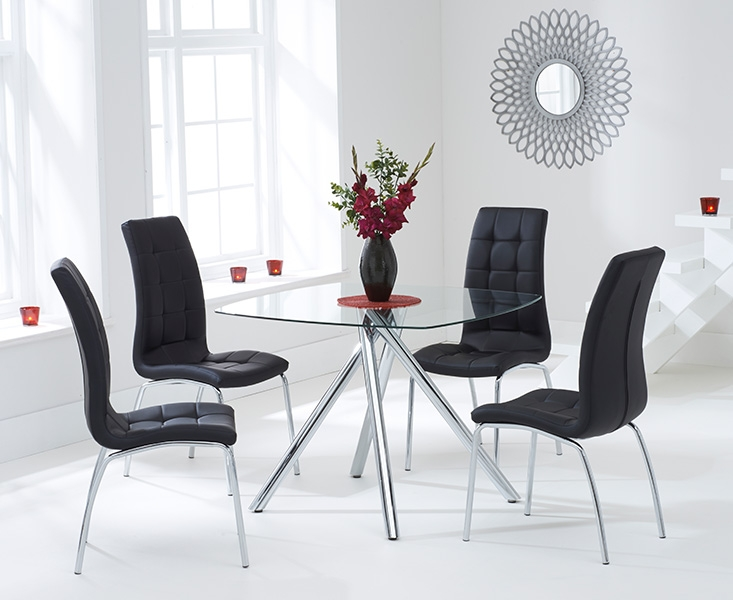 Mark Harris Elba 100cm Glass Square Dining Table and 4 California Black Chairs