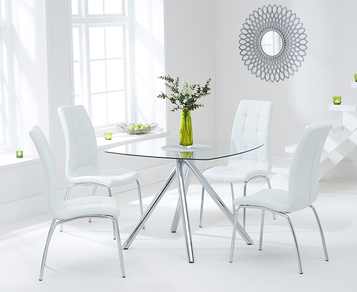 Mark Harris Elba 100cm Glass Square Dining Table And 4 California White Chairs Cfs Furniture Uk