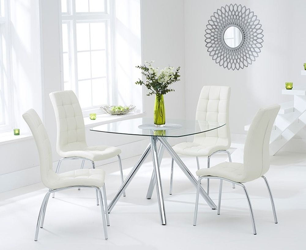 Mark Harris Elba Glass Square Dining Table and 4 California Chairs - Chrome and Cream