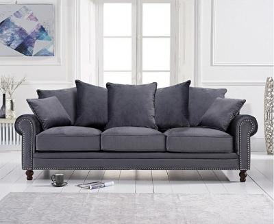 Mark Harris Ellie Grey Velvet 3 Seater Sofa