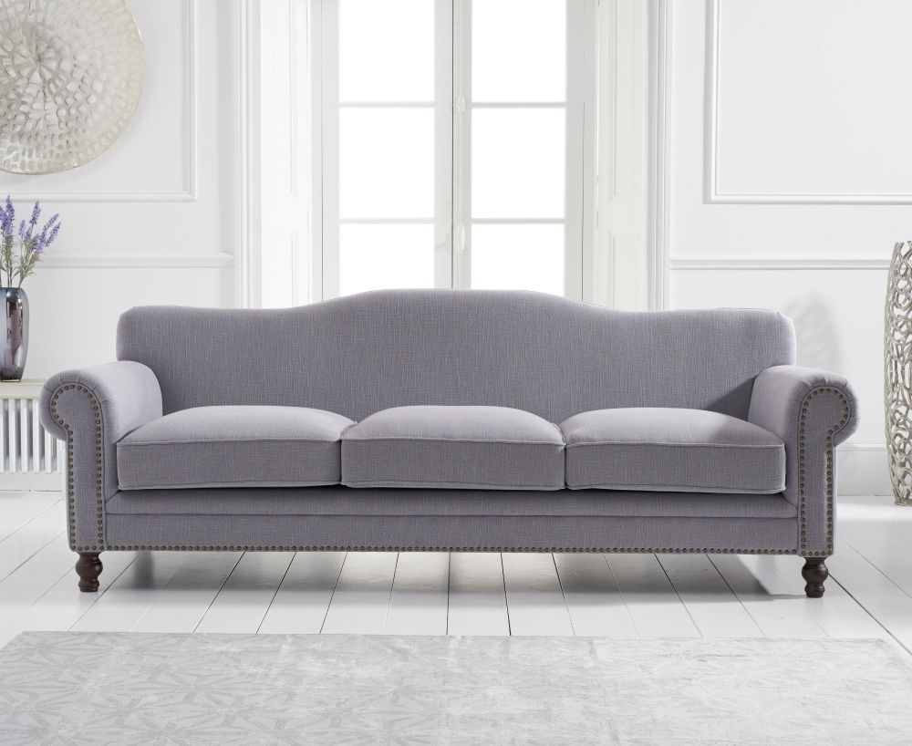 Mark Harris Ellie Grey Linen Fabric 3 Seater Sofa