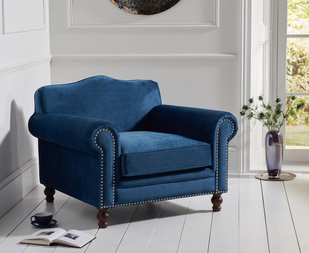 Mark Harris Ellie Blue Velvet Armchair