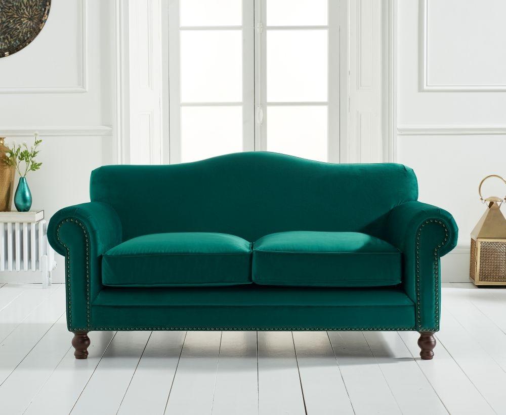 Mark Harris Ellie Green Velvet 2 Seater Sofa