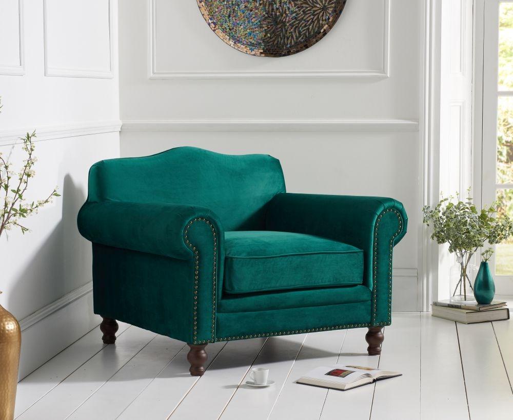 Mark Harris Ellie Green Velvet Armchair