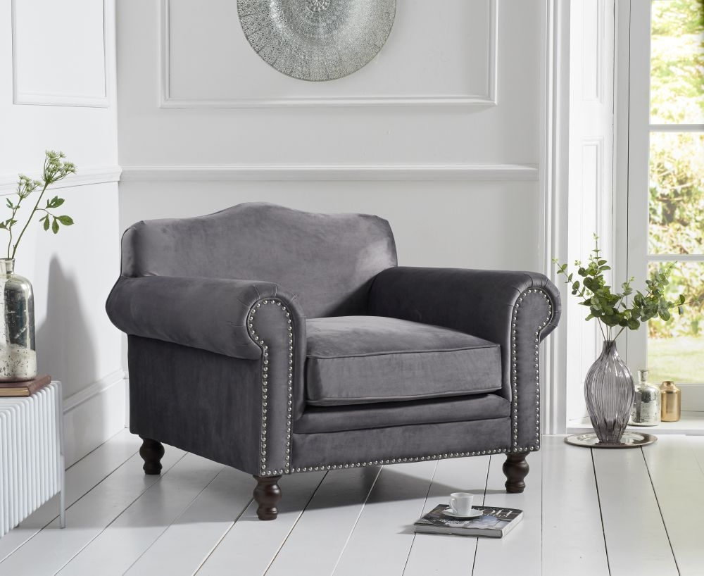 Mark Harris Ellie Grey Velvet Armchair