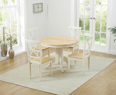 Mark Harris Elstree Butterfly Extending Dining Table and 4 Chairs - Oak and Cream