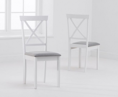 Mark Harris Elstree White and Grey Padded Dining Chair (Pair)