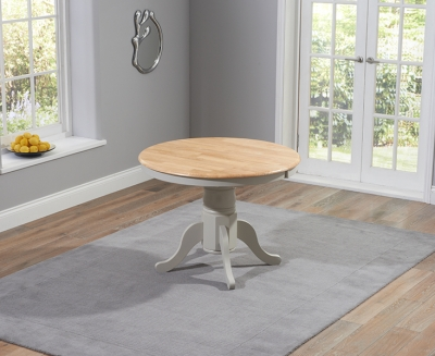 Mark Harris Elstree Oak and Grey 100cm Oval Extending Dining Table