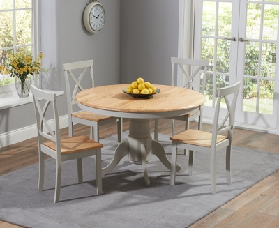 Mark Harris Elstree Round Dining Table and 4 Chairs - Oak and Grey