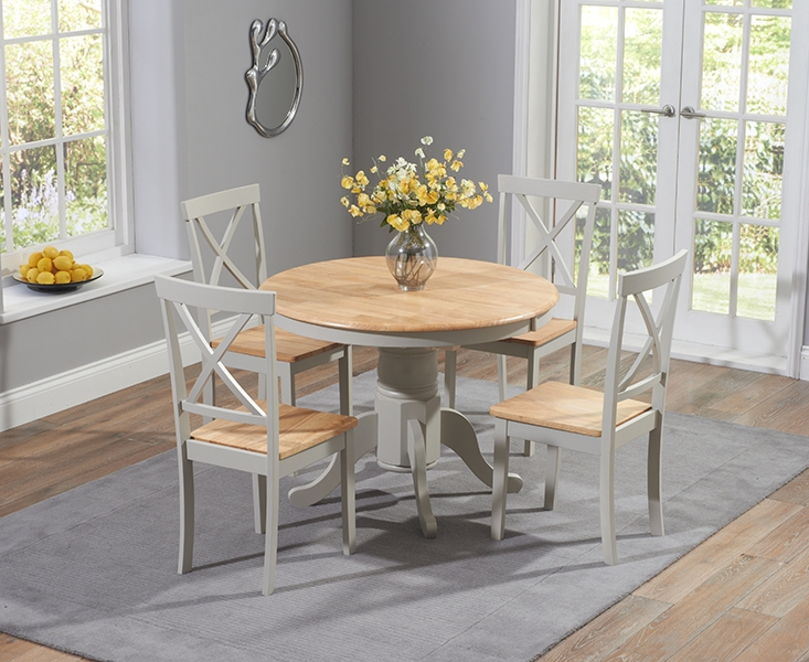Mark Harris Elstree Oak and Grey Dining Set - 100cm Oval Extending with 4 Chairs