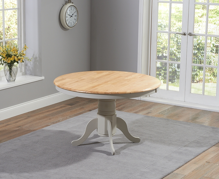 Mark Harris Elstree Oak and Grey Round Dining Table - 120cm