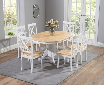 Mark Harris Elstree Oak and White 100cm Round Extending Dining Set with 6 Dining Chairs