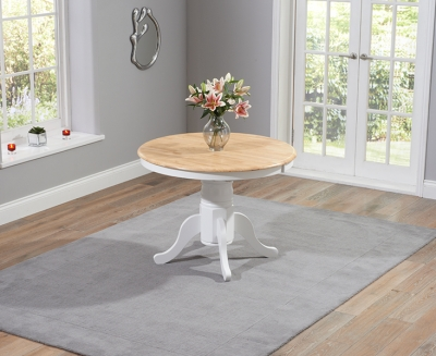Mark Harris Elstree Oak and White 100cm Round Extending Dining Table