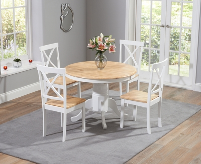 Mark Harris Elstree Oak and White 120cm Round Dining Set with 4 Dining Chairs