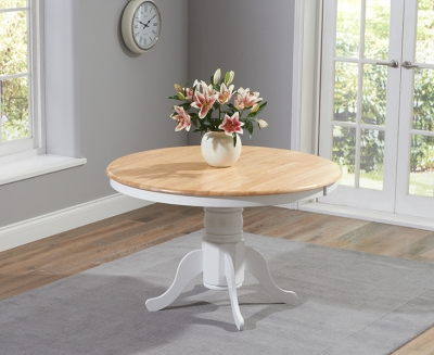 Mark Harris Elstree Oak and White 120cm Round Dining Table