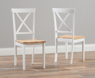 Mark Harris Elstree Oak and White Dining Chair (Pair)