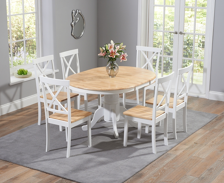 Mark Harris Elstree Oak and White Dining Set - 100cm Round Extending with 4 Chairs