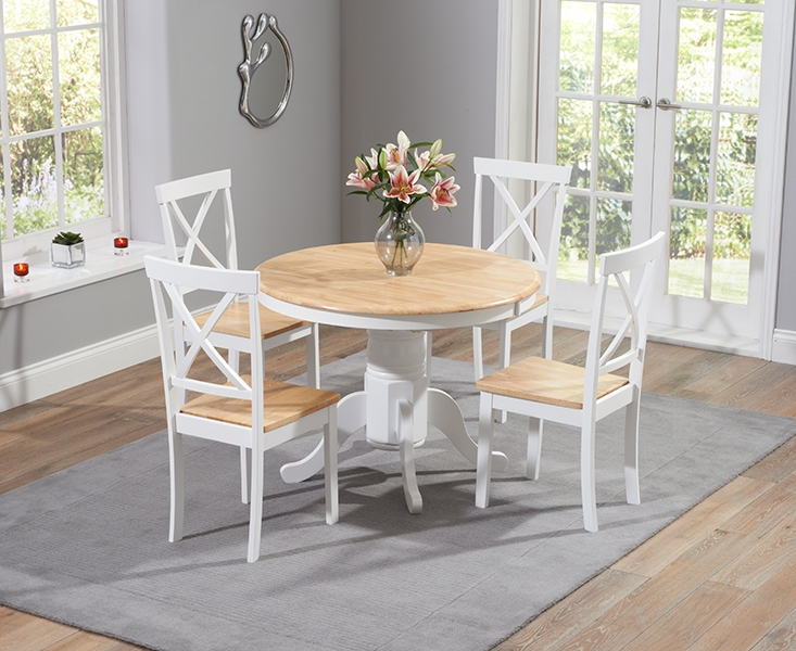 Mark Harris Elstree Oak and White Dining Table - 120cm Round with 4 Chairs