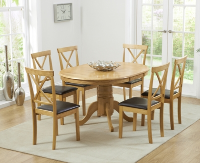Mark Harris Elstree Solid Oak 100cm Oval Extending Dining Set with 6 Dining Chairs