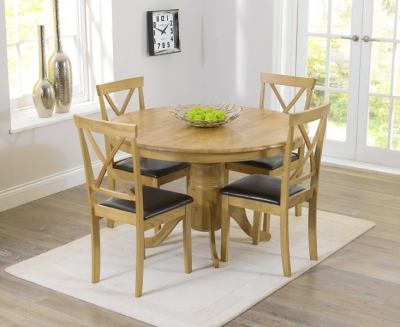 Mark Harris Elstree Solid Oak 120cm Round Dining Set with 4 Dining Chairs