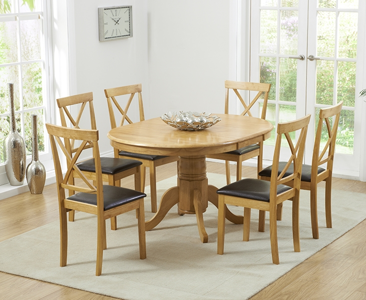 Mark Harris Elstree Solid Oak Dining Set - 100cm Oval Extending with 4 Dining Chairs
